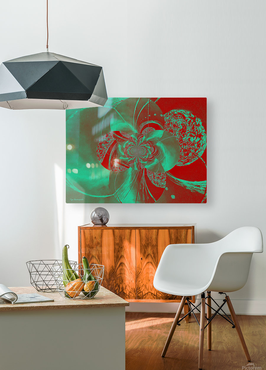 Emerald and Red Circular Patterns  HD Metal print with Floating Frame on Back