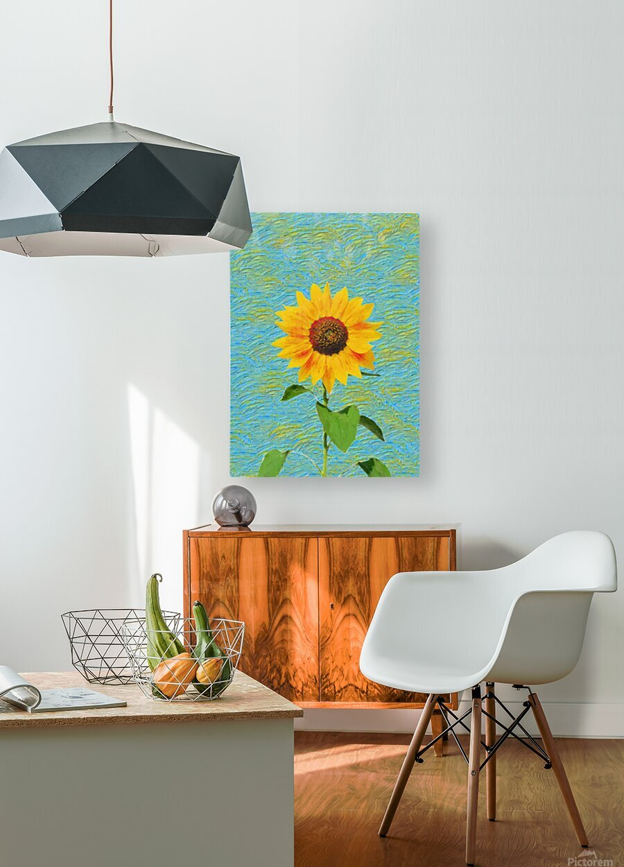 Sunflower.  HD Metal print with Floating Frame on Back