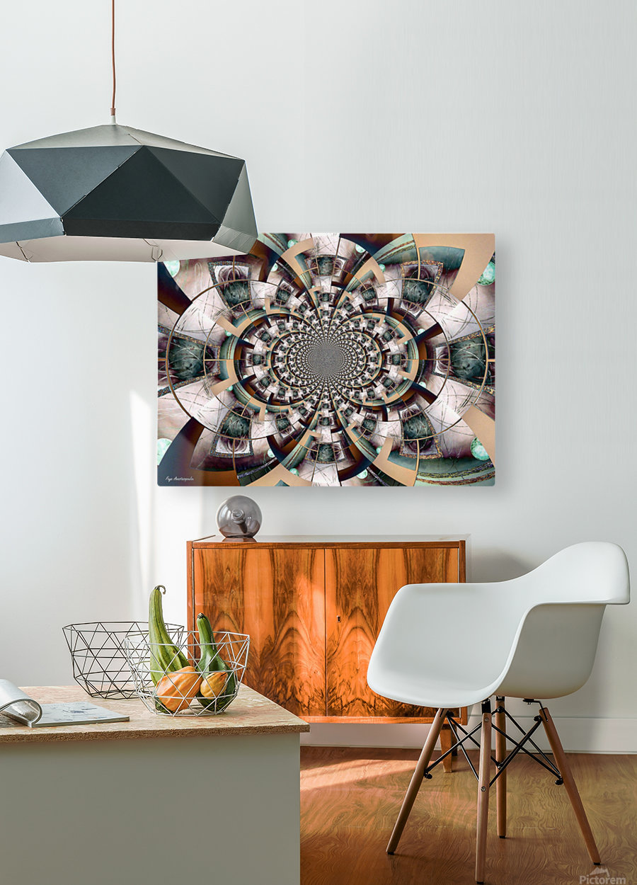 Graphic Ornamental Colorful  HD Metal print with Floating Frame on Back