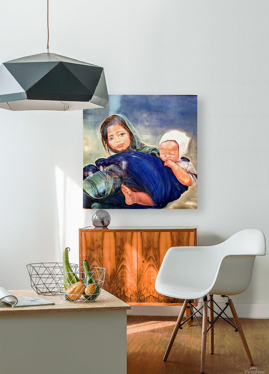 Child raising a Child  HD Metal print with Floating Frame on Back