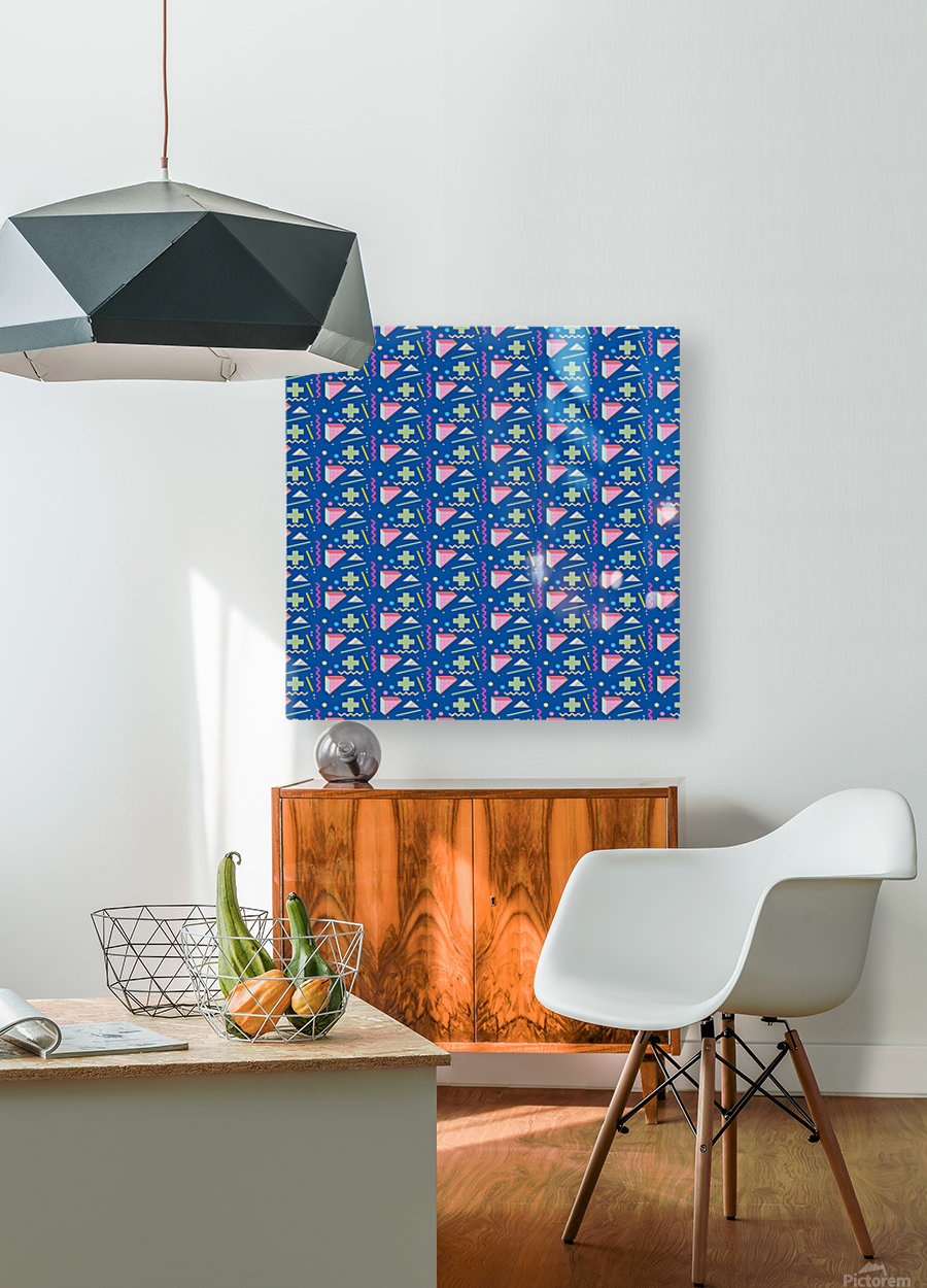memphis pattern  HD Metal print with Floating Frame on Back