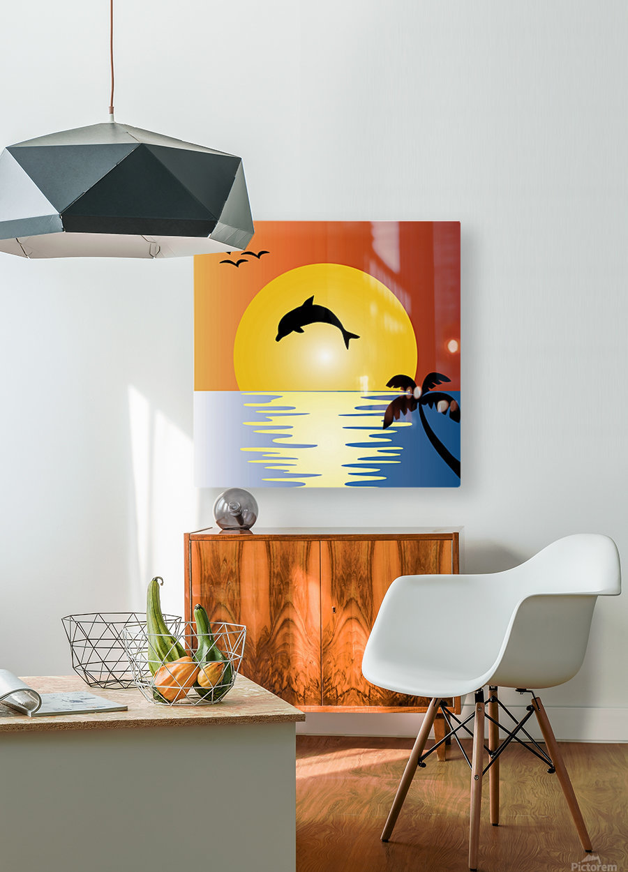 ocean sunset dolphin palm tree  HD Metal print with Floating Frame on Back