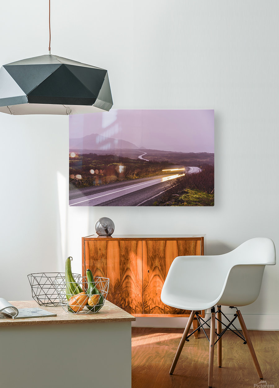 Sunset during overcast rainy day in iceland  HD Metal print with Floating Frame on Back
