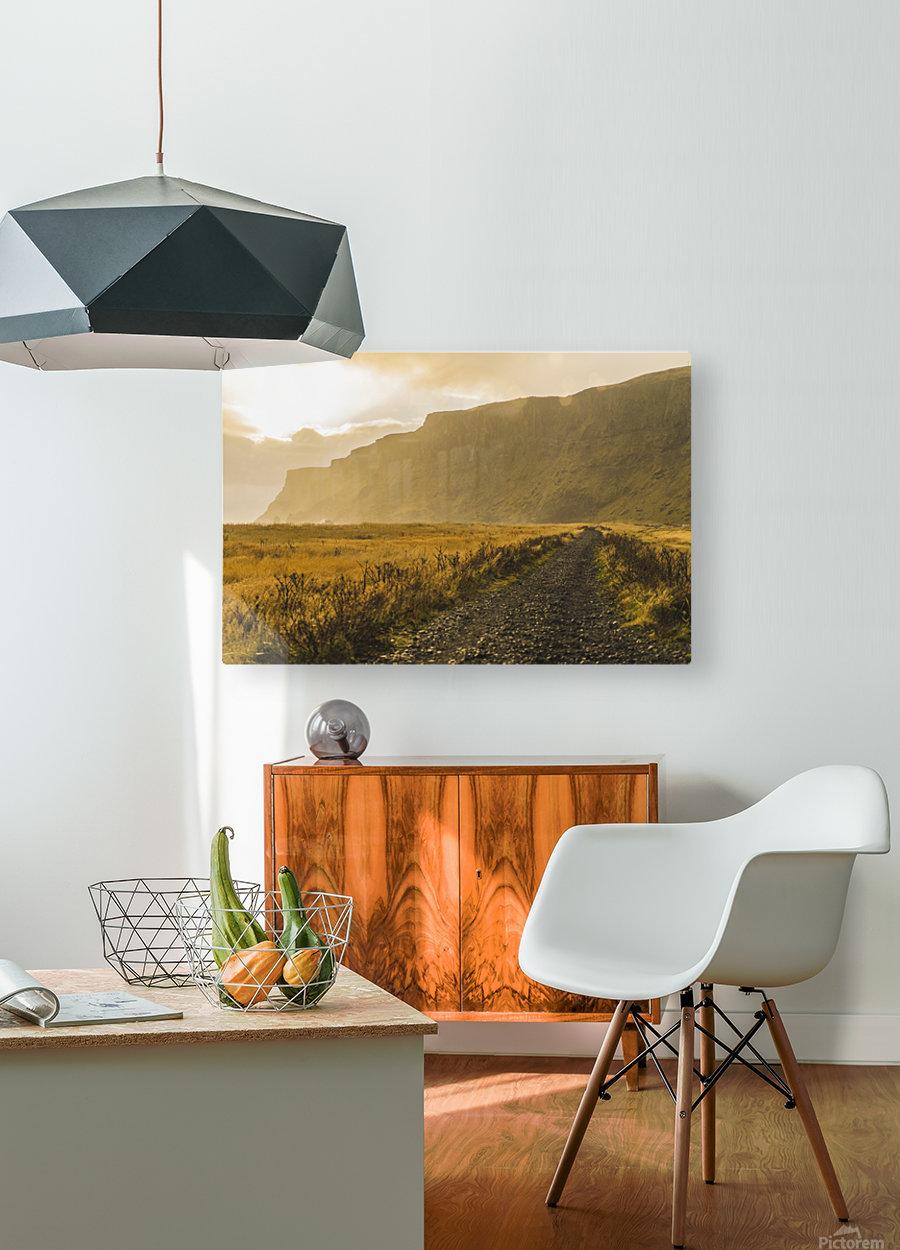 Icelandic sunset in Vik Iceland  HD Metal print with Floating Frame on Back
