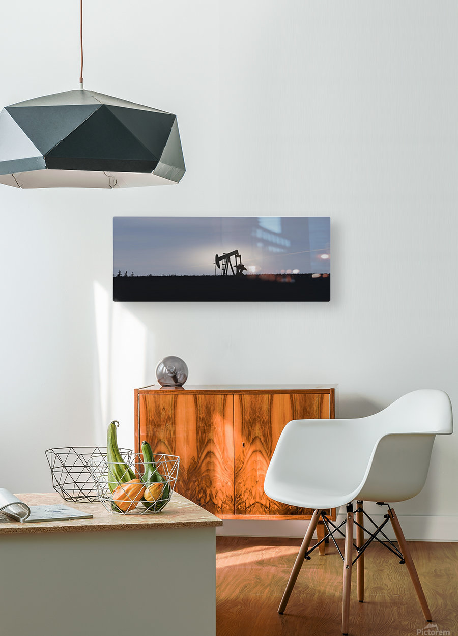 Pumpjack Oil Rig  HD Metal print with Floating Frame on Back