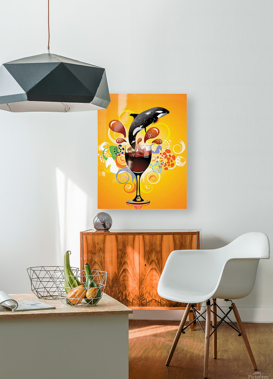 ORCA  HD Metal print with Floating Frame on Back