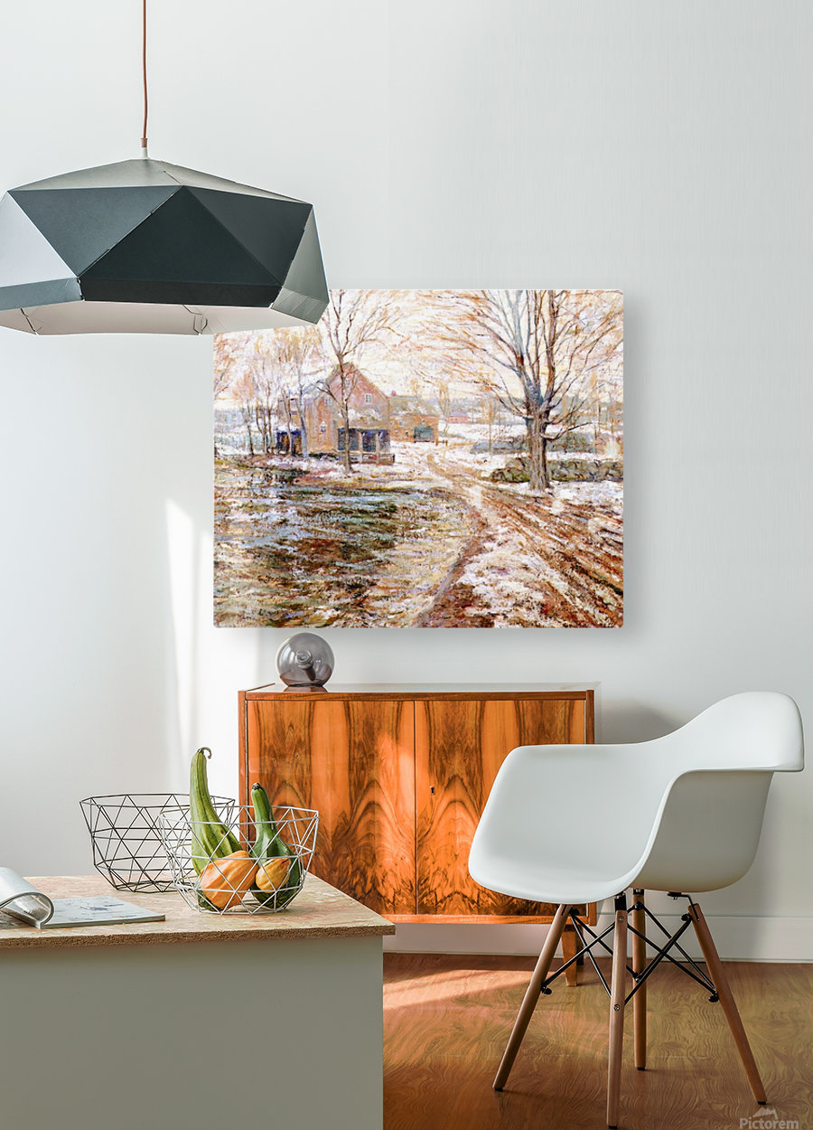 House in winter  HD Metal print with Floating Frame on Back