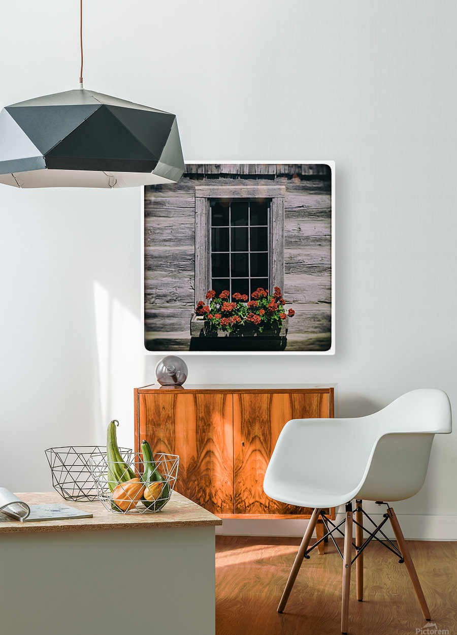 Window of Flowers  HD Metal print with Floating Frame on Back