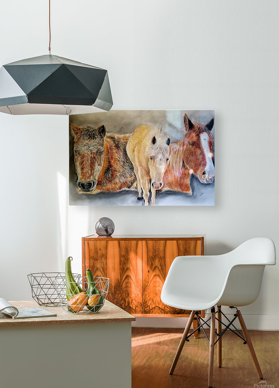 three horses  HD Metal print with Floating Frame on Back