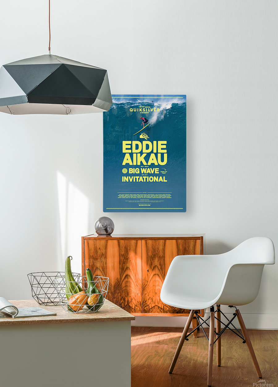 2017 QUIKSILVER - EDDIE AIKAU Big Wave Invitational Surfing Competition Print  HD Metal print with Floating Frame on Back