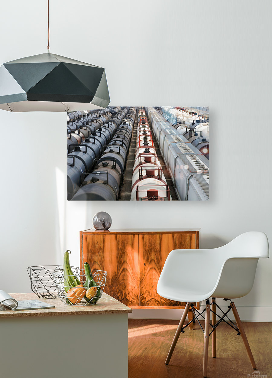 The Rail Yard - HDR  HD Metal print with Floating Frame on Back