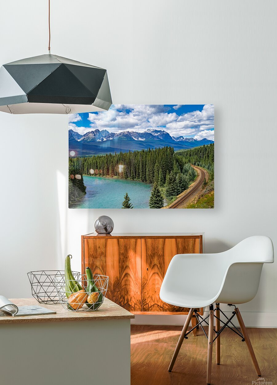 Train Tracks and River Bend  HD Metal print with Floating Frame on Back