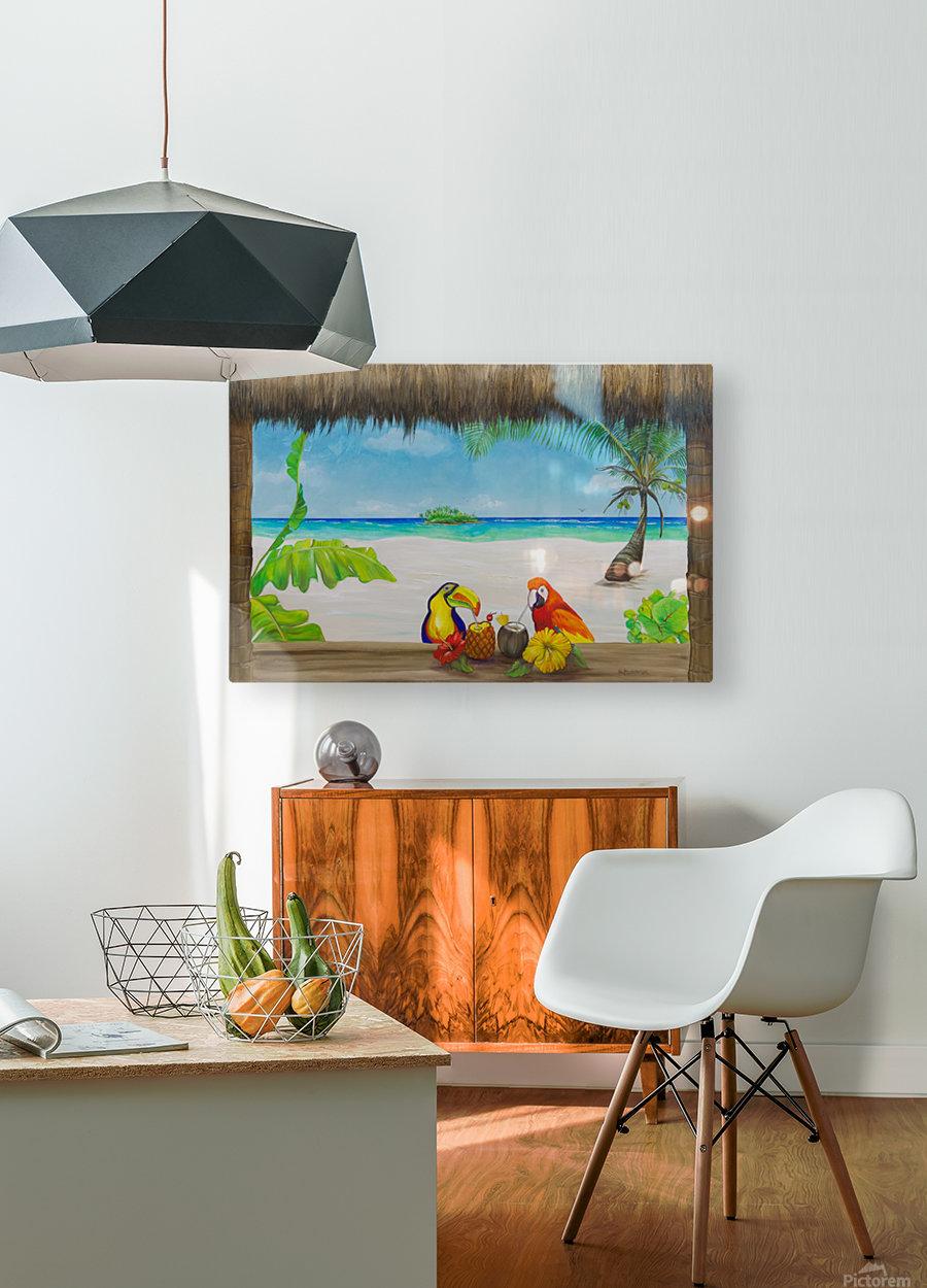 Beach tiki   HD Metal print with Floating Frame on Back