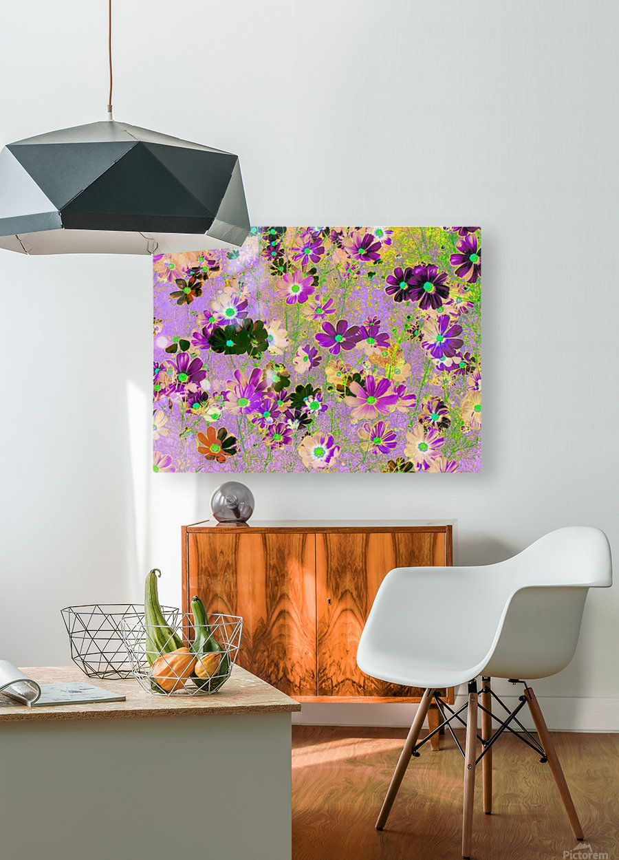 Flowers Garden Purple  HD Metal print with Floating Frame on Back