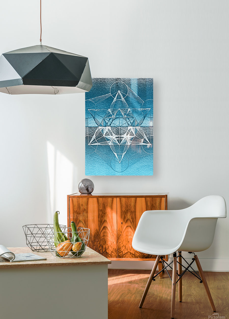 Cube of Metatrone Handdrawing  HD Metal print with Floating Frame on Back