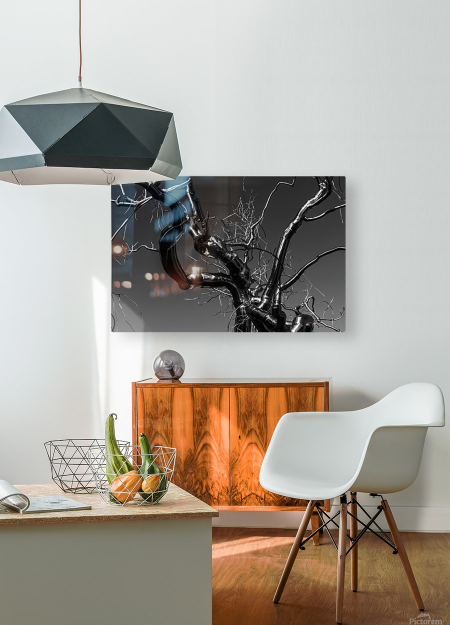 Metal tree  HD Metal print with Floating Frame on Back