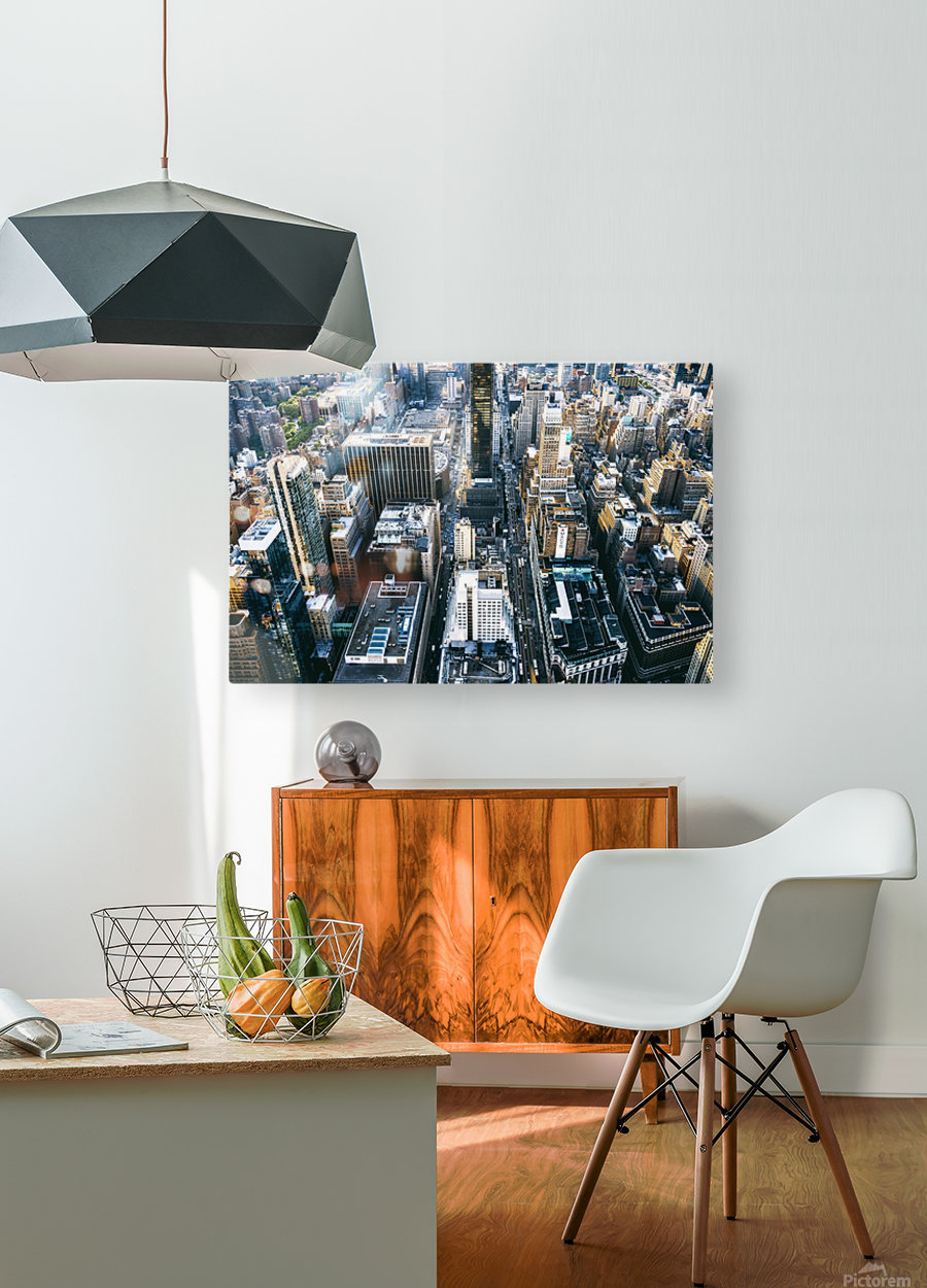New York city Skyline View   HD Metal print with Floating Frame on Back