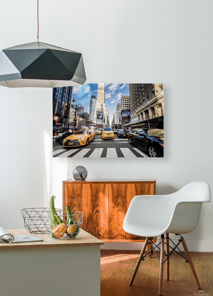 New York City Taxi Mayhem   HD Metal print with Floating Frame on Back