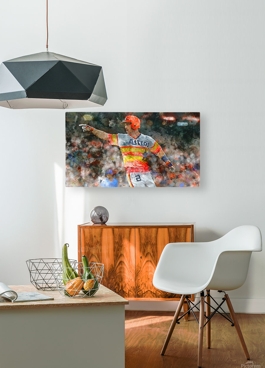 ALEX BREGMAN Water Color Print - Houston Astros print   HD Metal print with Floating Frame on Back
