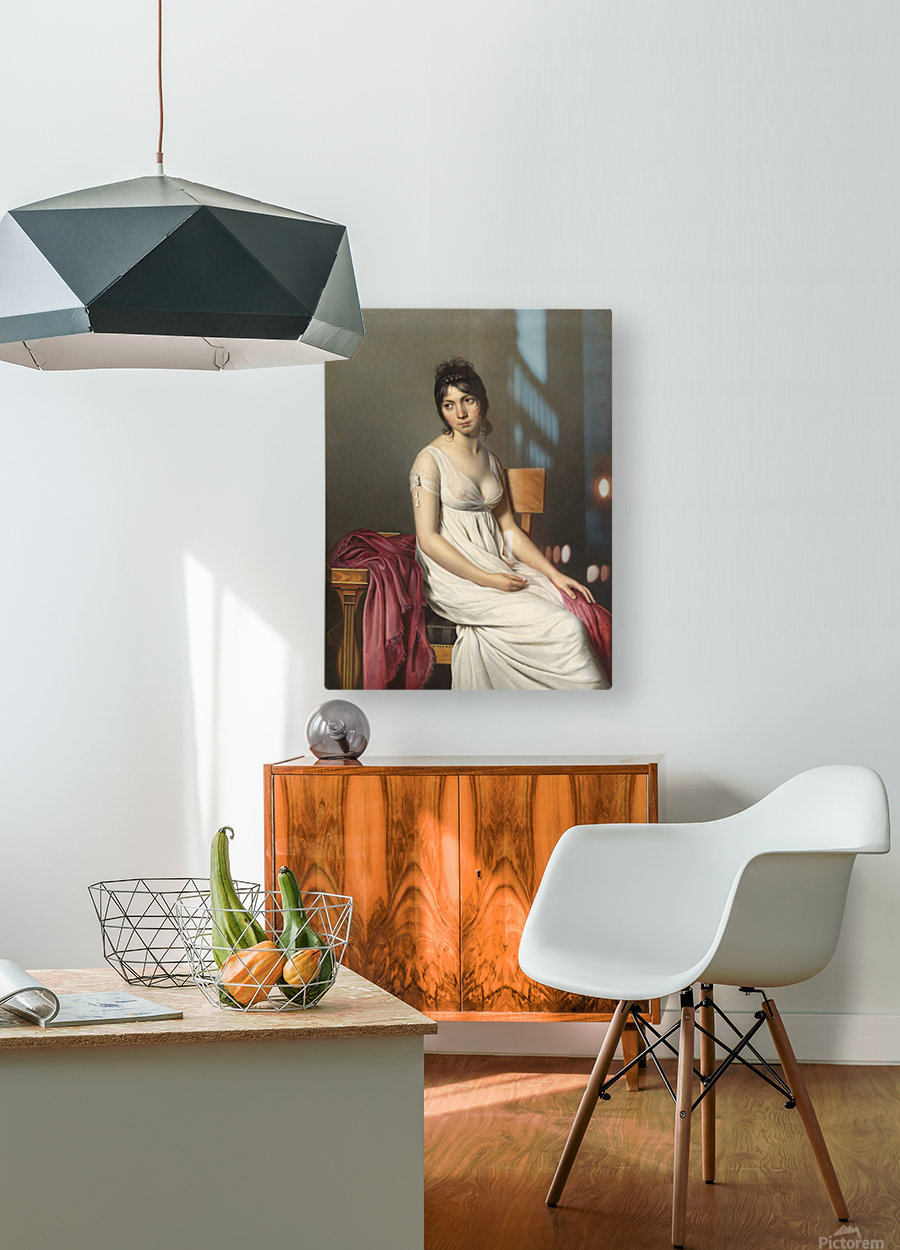 A woman standing  HD Metal print with Floating Frame on Back