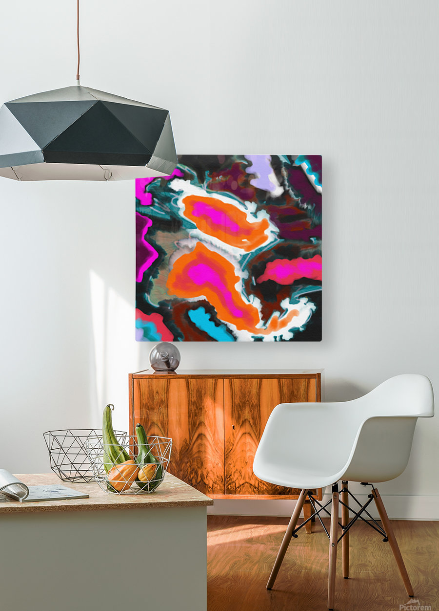 Abstract Paisley Paint Pour  HD Metal print with Floating Frame on Back