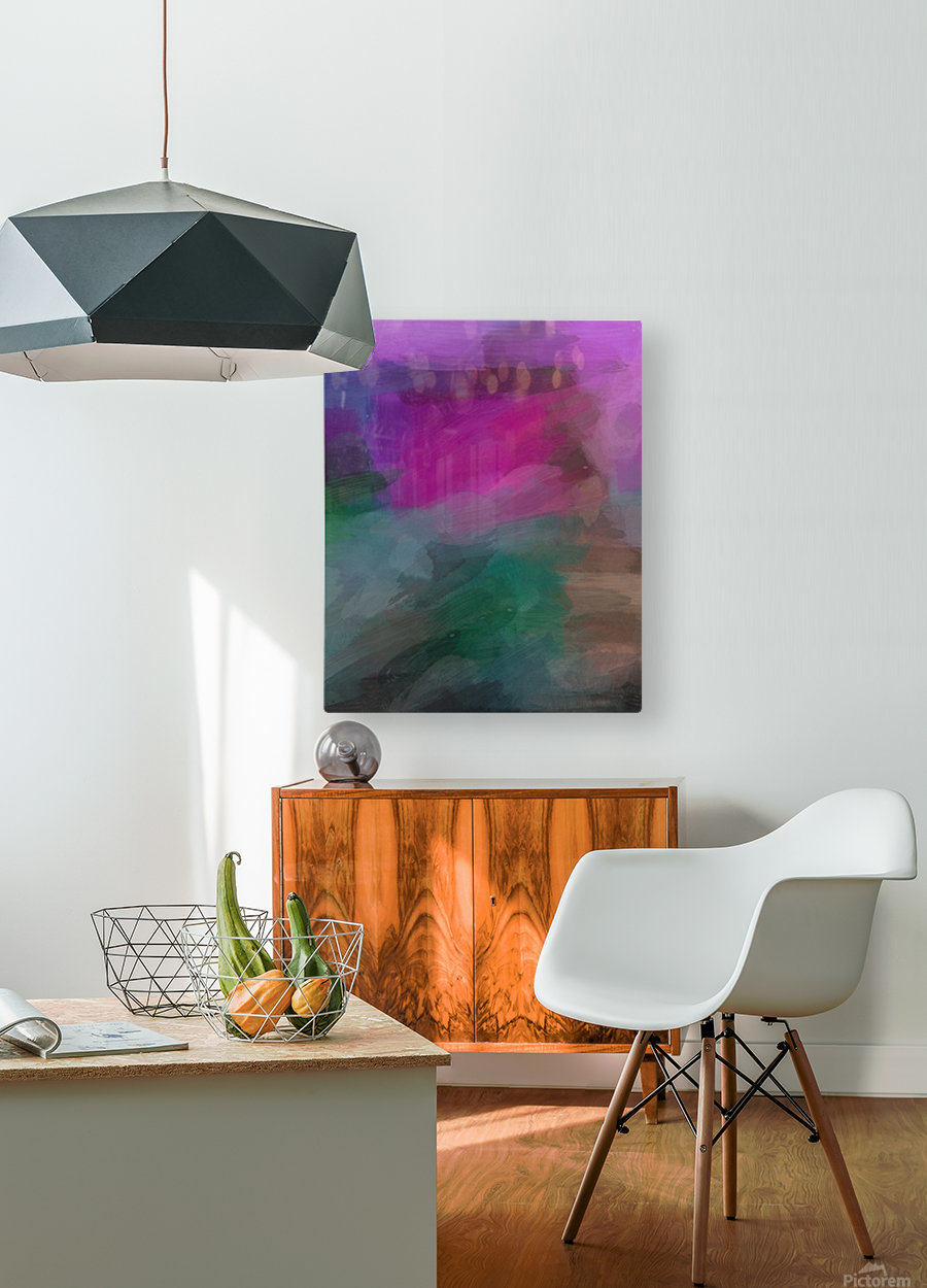 Magenta and Green  HD Metal print with Floating Frame on Back