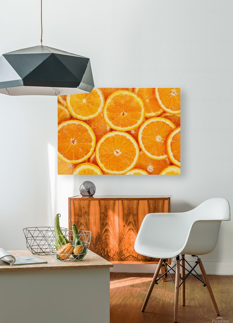 orange  HD Metal print with Floating Frame on Back