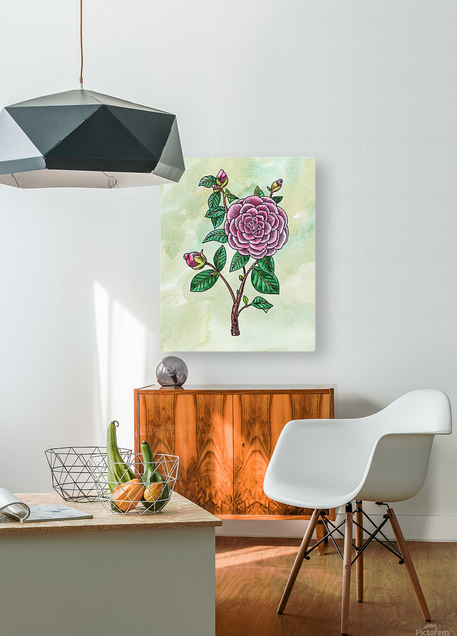 Botanical Watercolor Japanese Camellia Flower   HD Metal print with Floating Frame on Back