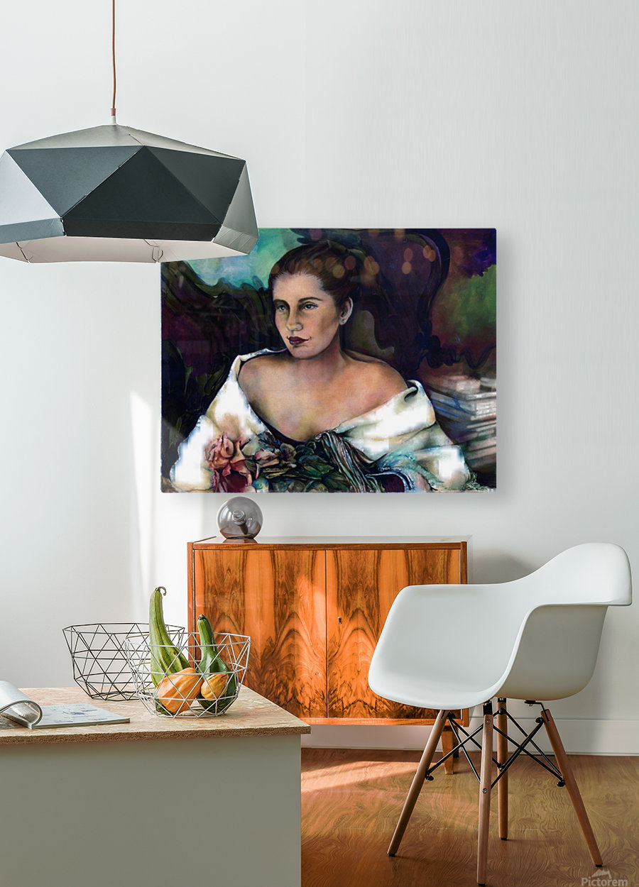Spanish Lady With A Rose  HD Metal print with Floating Frame on Back