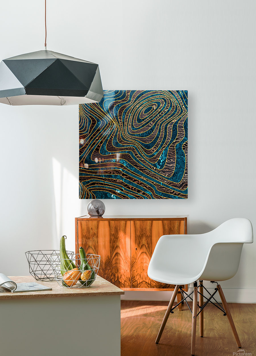 Marble waves  HD Metal print with Floating Frame on Back