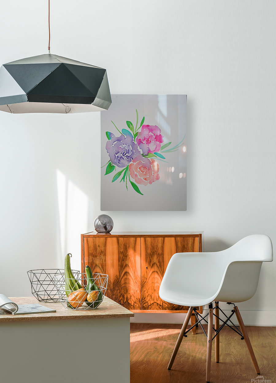 Watery roses  HD Metal print with Floating Frame on Back