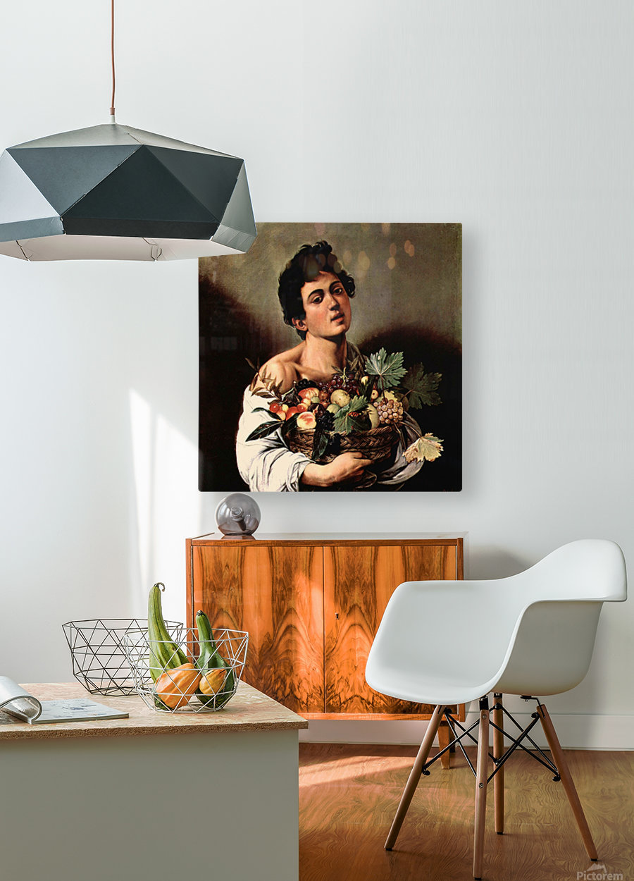 Man with basket  HD Metal print with Floating Frame on Back