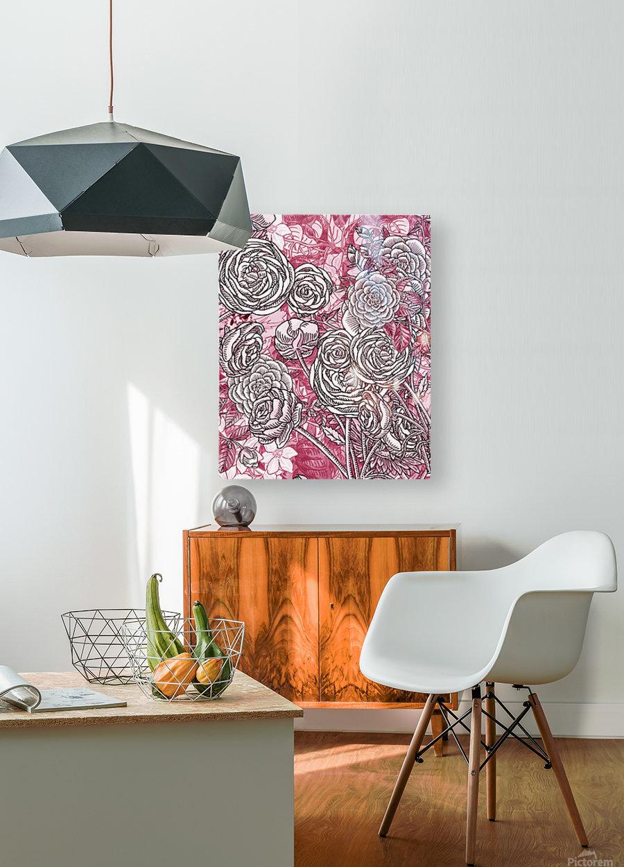 Watercolor Botanical Flowers Garden Pink Flowerbed V  HD Metal print with Floating Frame on Back
