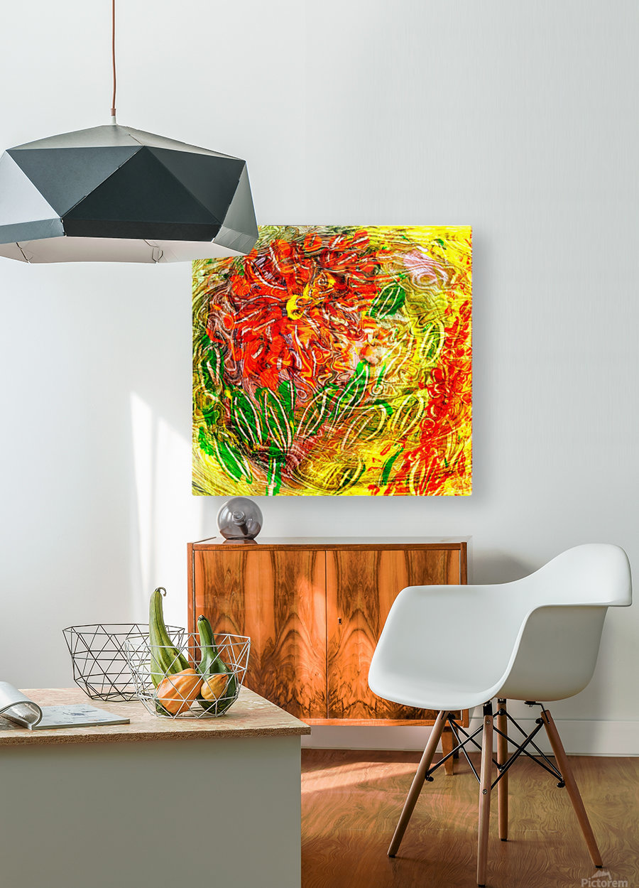 orange flower energy abstraction  HD Metal print with Floating Frame on Back