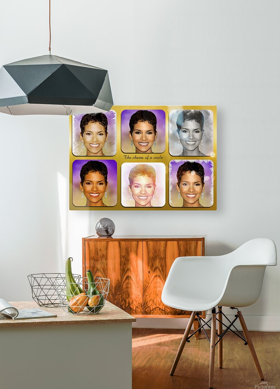 Halle Berry pop star celebrity   HD Metal print with Floating Frame on Back