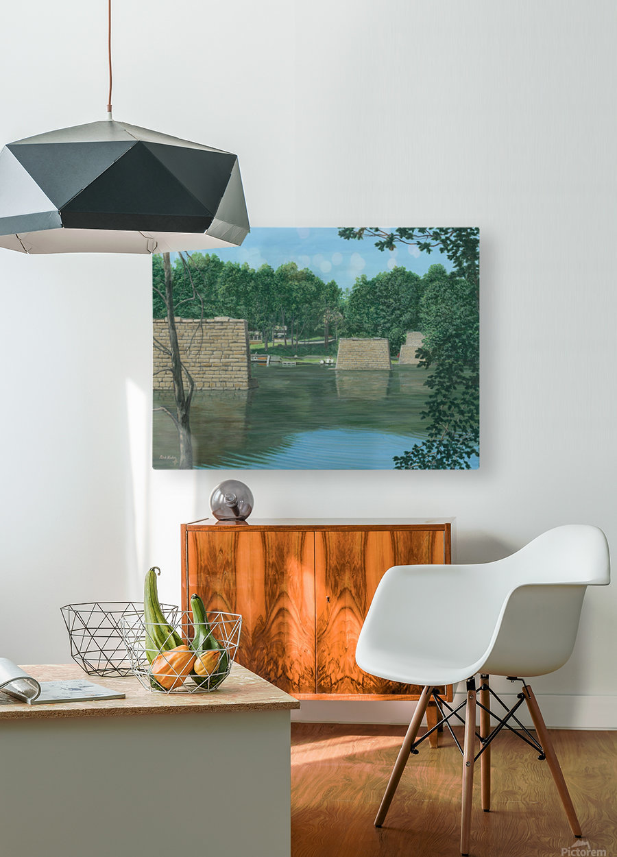 Stone Piers Housatonic River - Newtown Scenes 18 X 24   HD Metal print with Floating Frame on Back