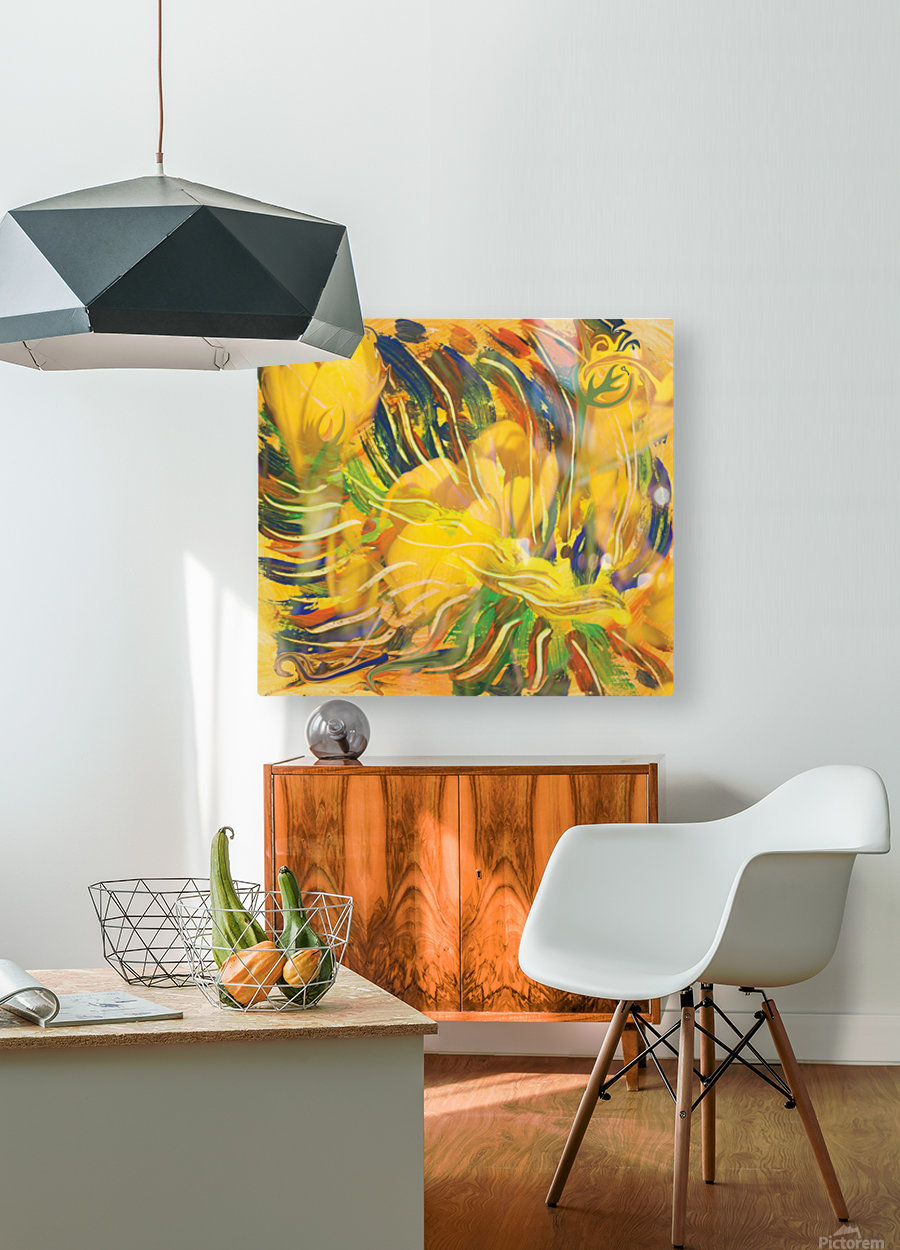 yellow flowers abstraction  HD Metal print with Floating Frame on Back
