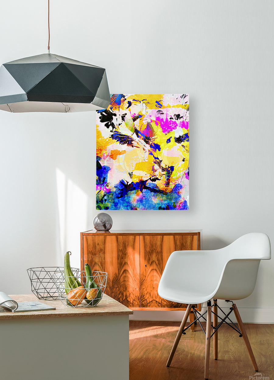 Yellow Branch  HD Metal print with Floating Frame on Back