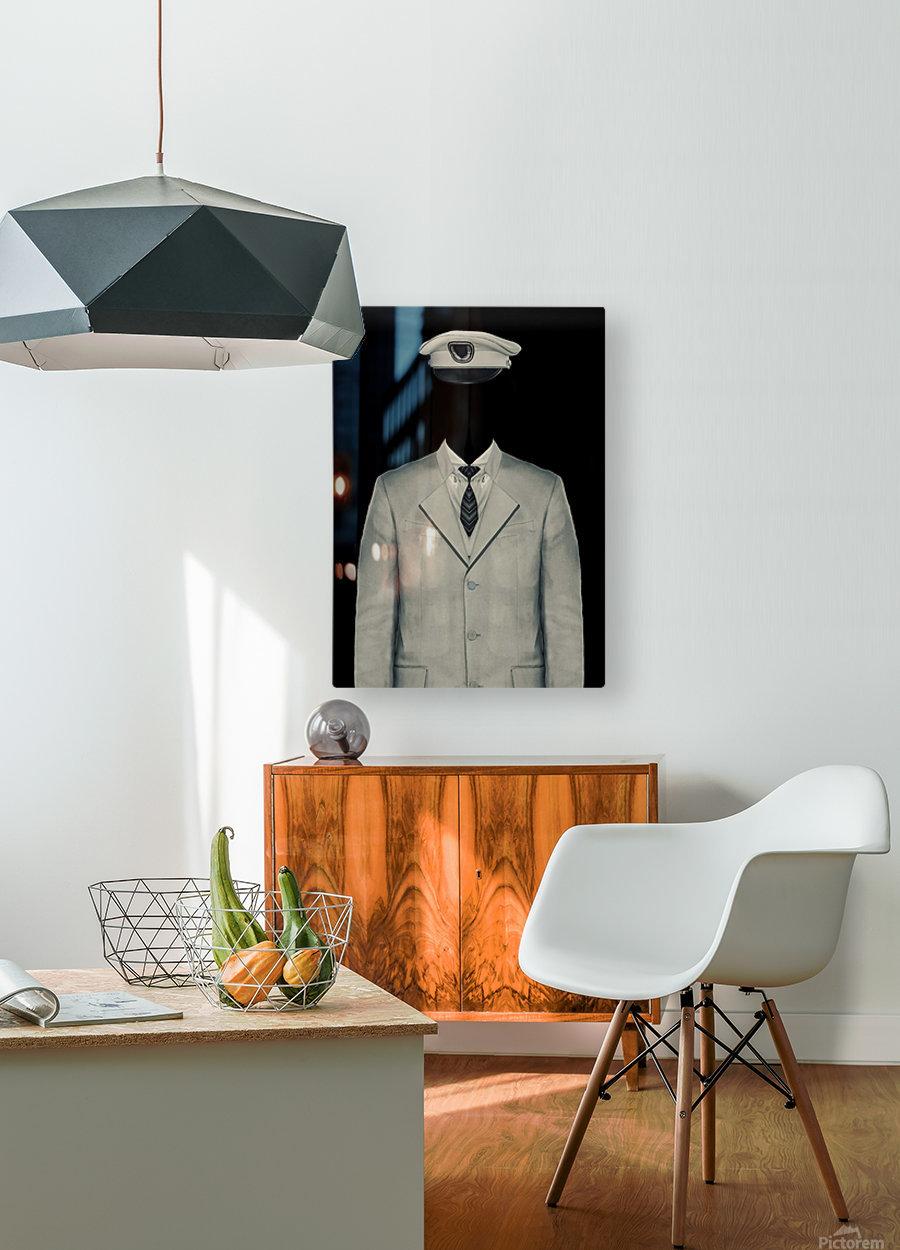 Surreal Officer Man Portrait  HD Metal print with Floating Frame on Back