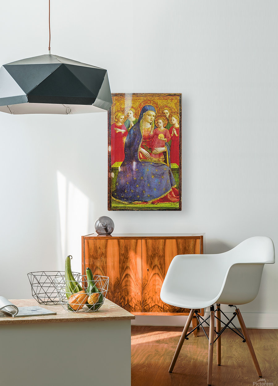 Virgin with the child and four angels  HD Metal print with Floating Frame on Back