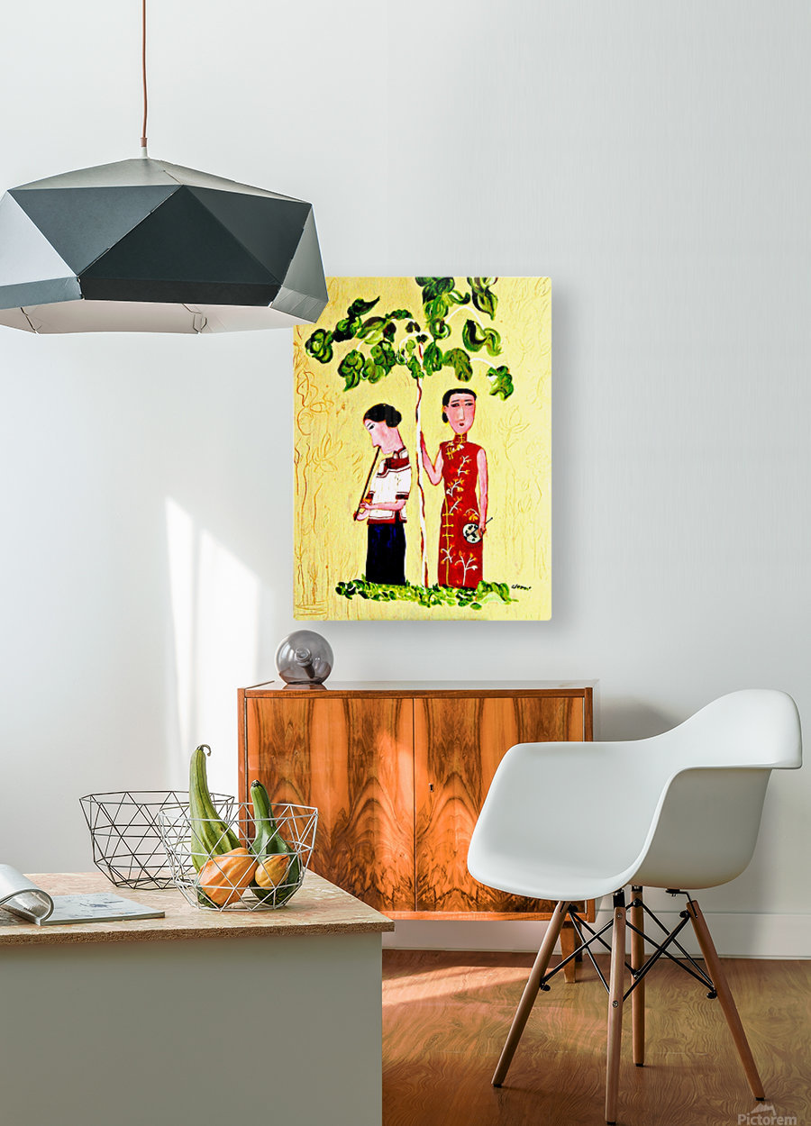 Two Chinese Ladies  HD Metal print with Floating Frame on Back