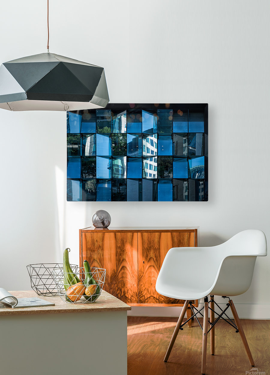 Blue Mirrors  HD Metal print with Floating Frame on Back