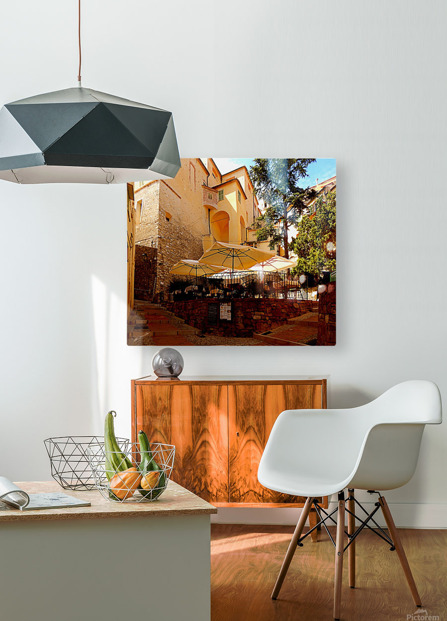 French Village Bistro  HD Metal print with Floating Frame on Back