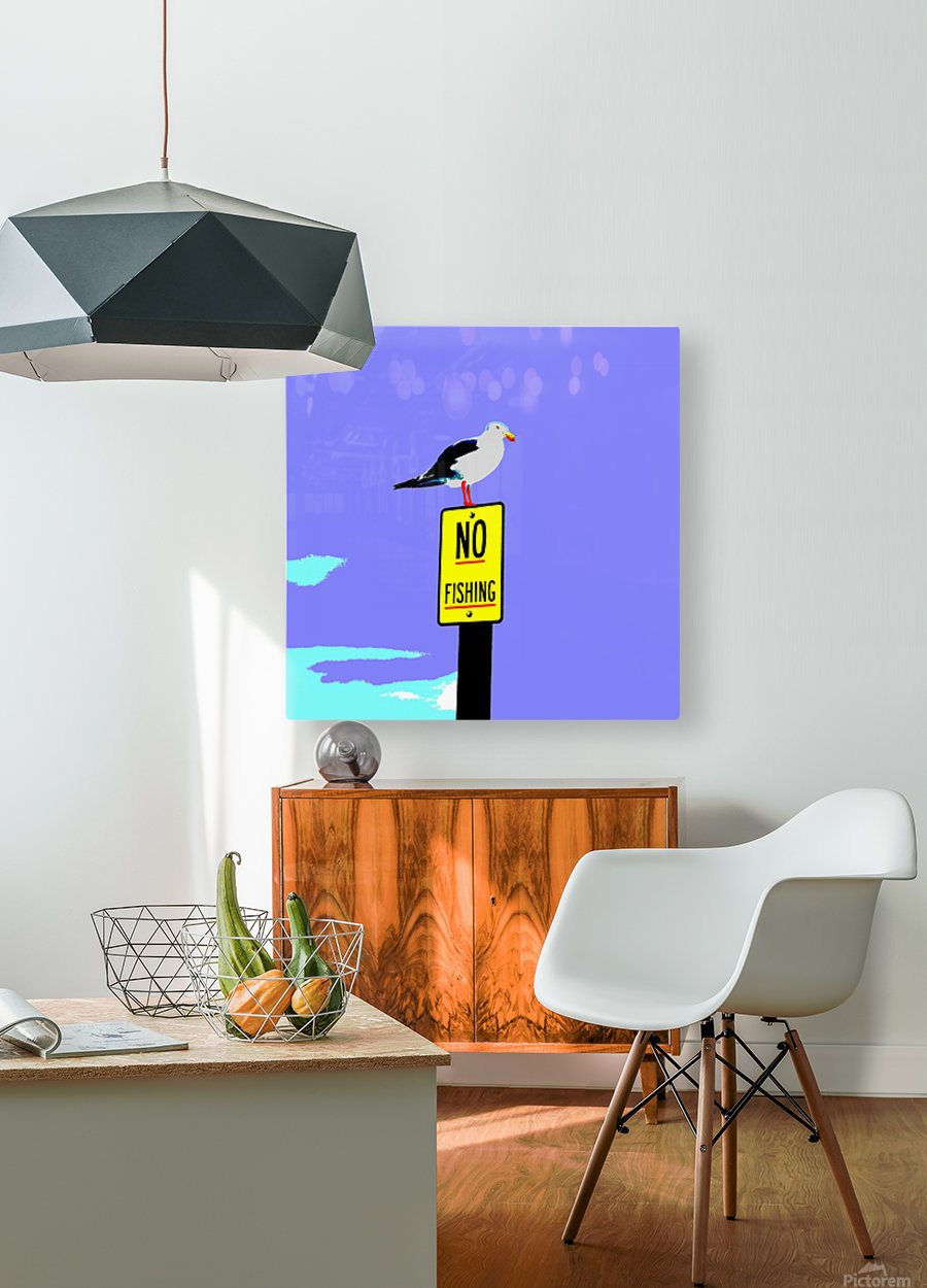 NO Fishing - Blue  HD Metal print with Floating Frame on Back