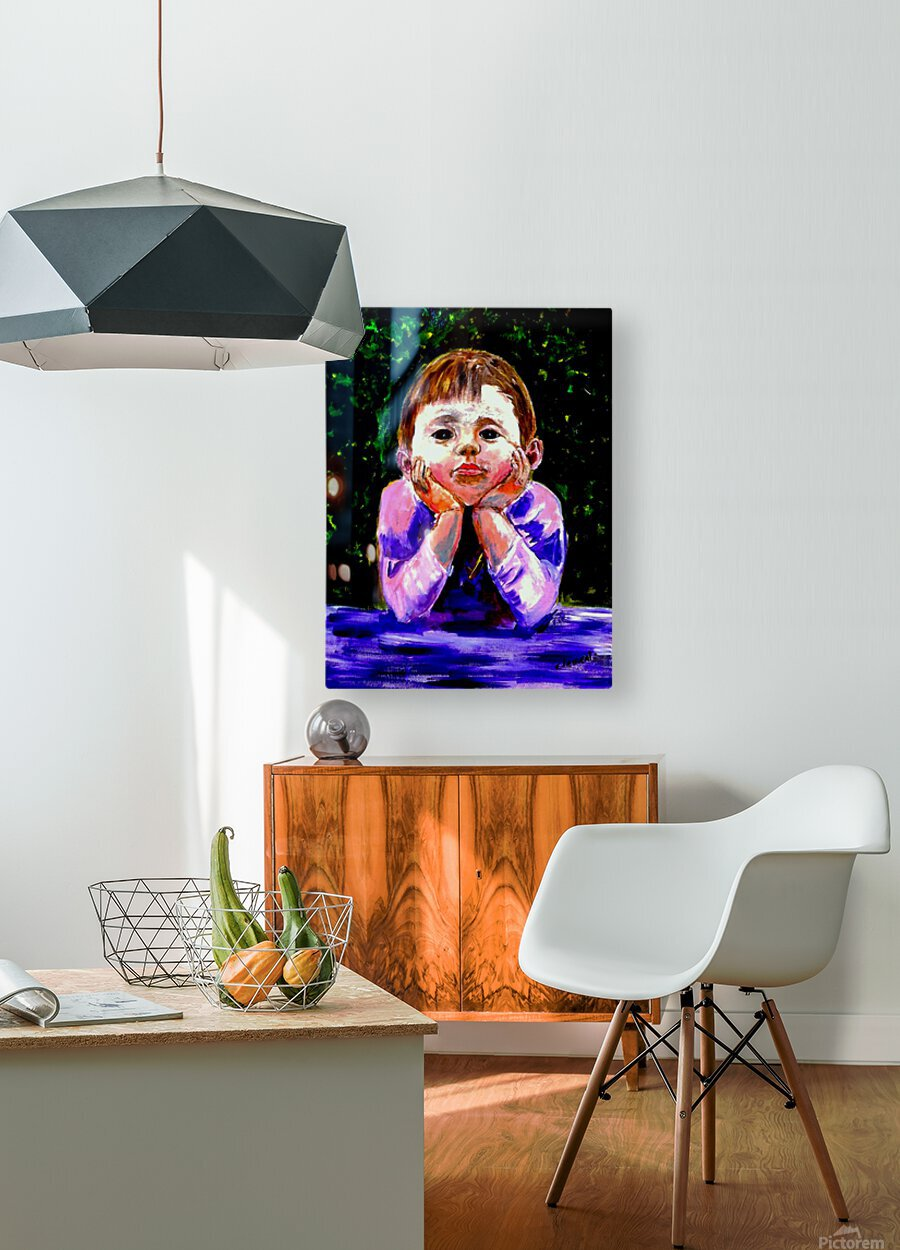 A Young Boy is Waiting  HD Metal print with Floating Frame on Back