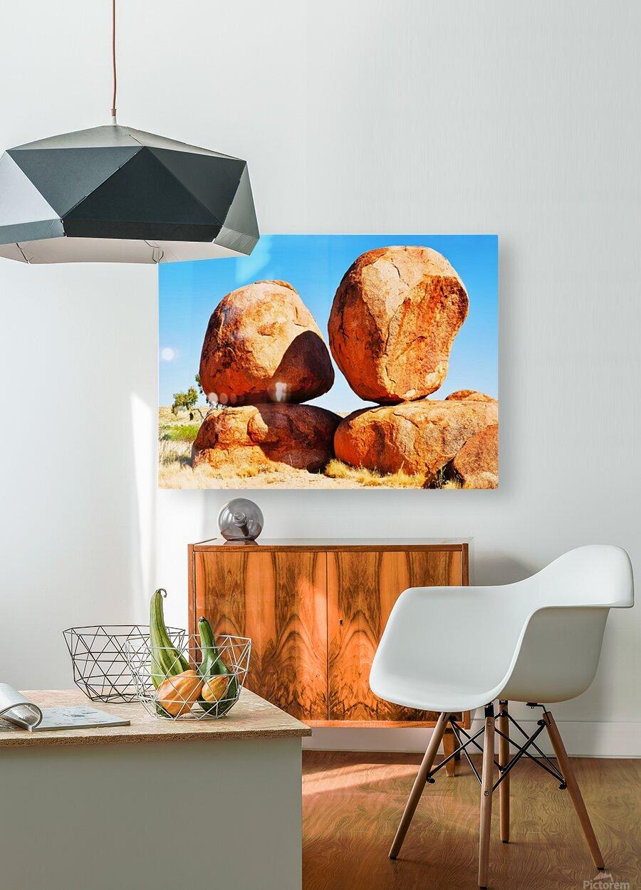 Balance - Devils Marbles  HD Metal print with Floating Frame on Back