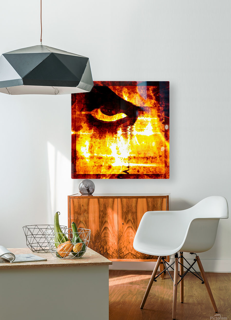 Modern Eye Fire  HD Metal print with Floating Frame on Back