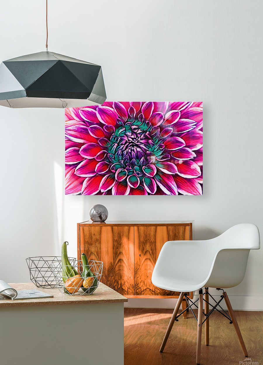 Red flower and Green  HD Metal print with Floating Frame on Back