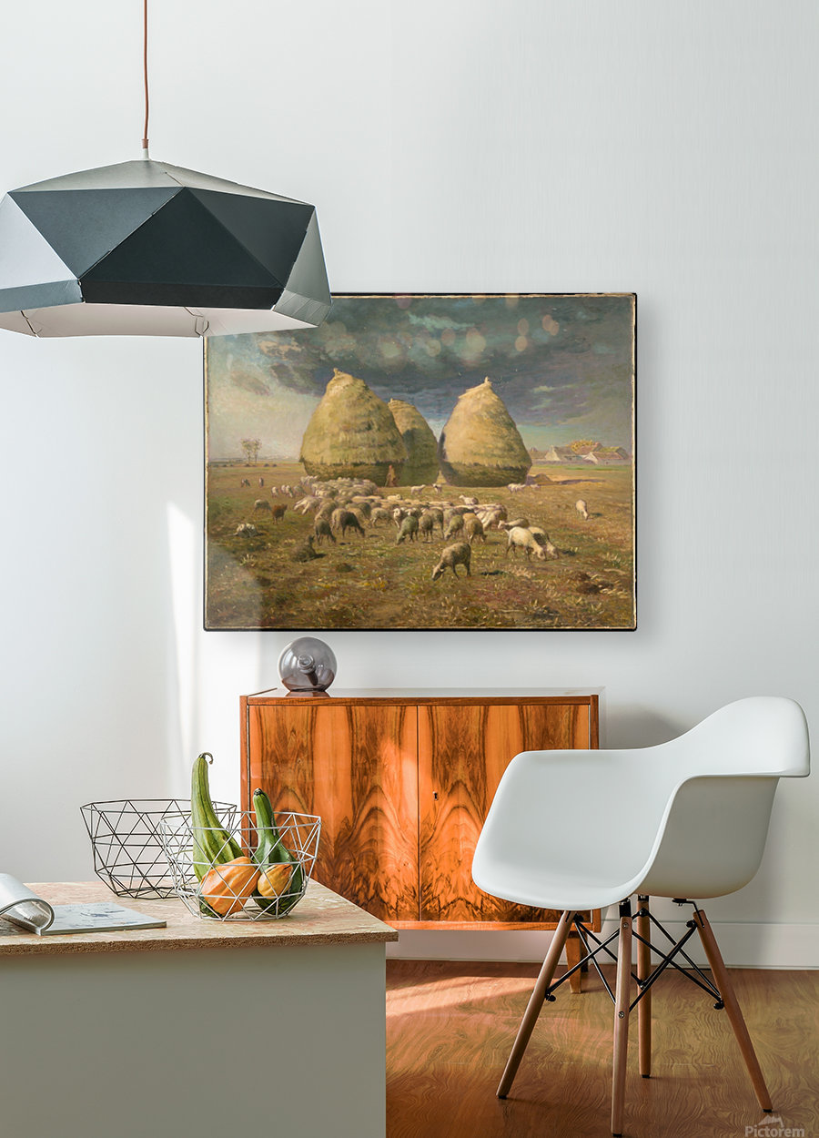 Haystacks - Autumn  HD Metal print with Floating Frame on Back