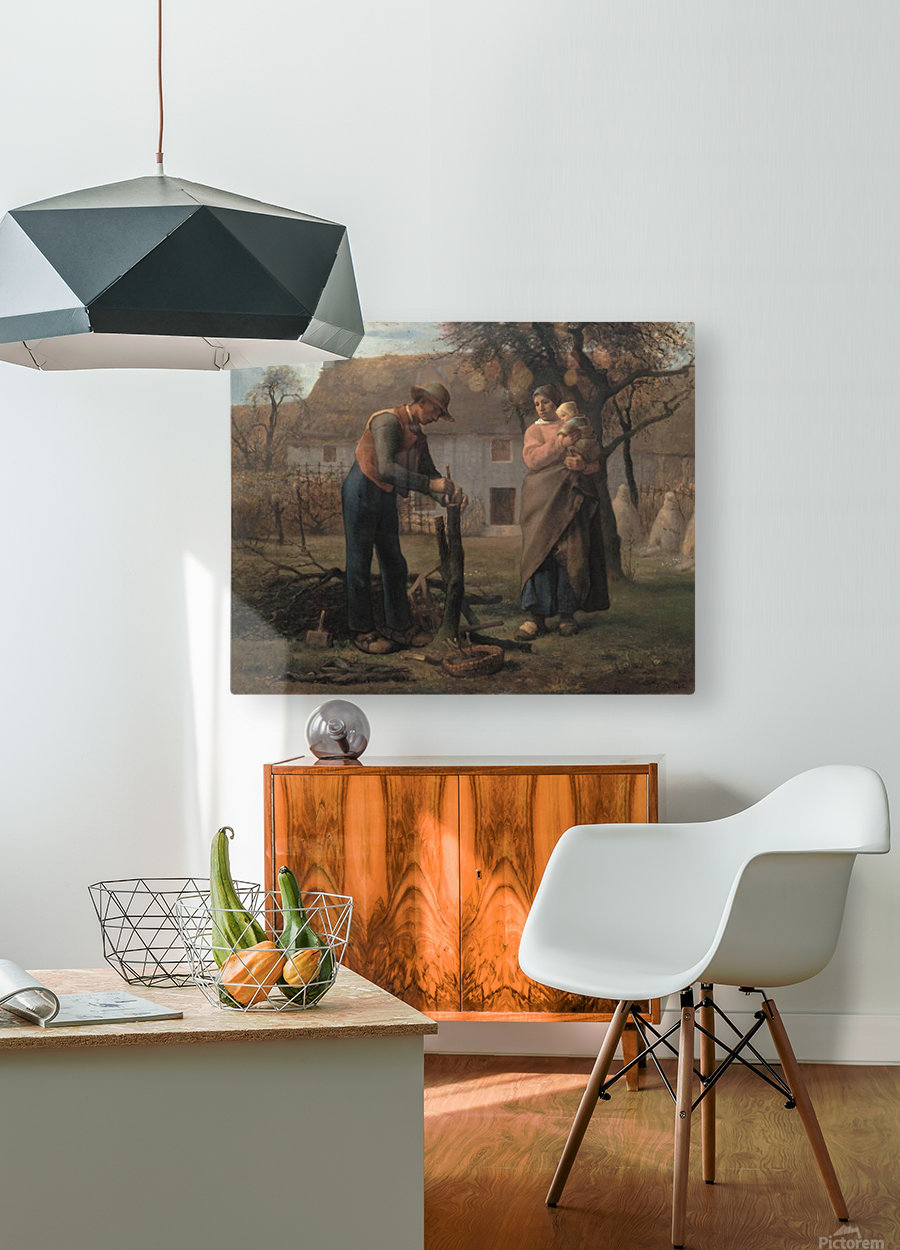 Farmer Inserting a Graft on a Tree  HD Metal print with Floating Frame on Back